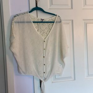 Sheer white tee with tie front and lace back